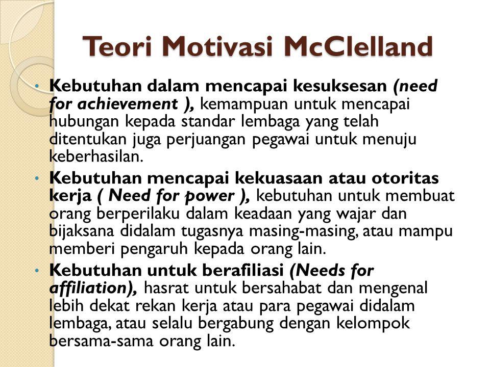 Teori Motivasi McClelland Kebutuhan dalam mencapai kesuksesan (need for achievement ), kemampuan untuk mencapai hubungan kepada standar lembaga yang telah ditentukan juga perjuangan pegawai untuk menuju keberhasilan.
