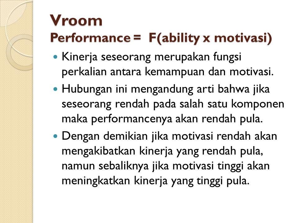 Vroom Performance = F(ability x motivasi) Kinerja seseorang merupakan fungsi perkalian antara kemampuan dan motivasi. Hubungan ini mengandung arti bah