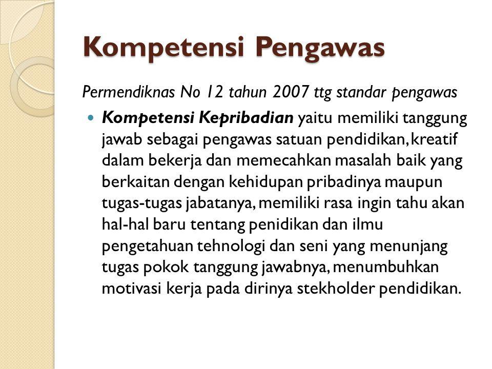 Kompetensi Pengawas Permendiknas No 12 tahun 2007 ttg standar pengawas Kompetensi Kepribadian yaitu memiliki tanggung jawab sebagai pengawas satuan pe
