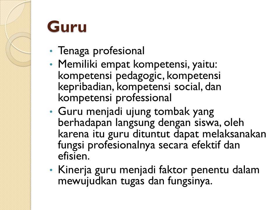 Guru Tenaga profesional Memiliki empat kompetensi, yaitu: kompetensi pedagogic, kompetensi kepribadian, kompetensi social, dan kompetensi professional