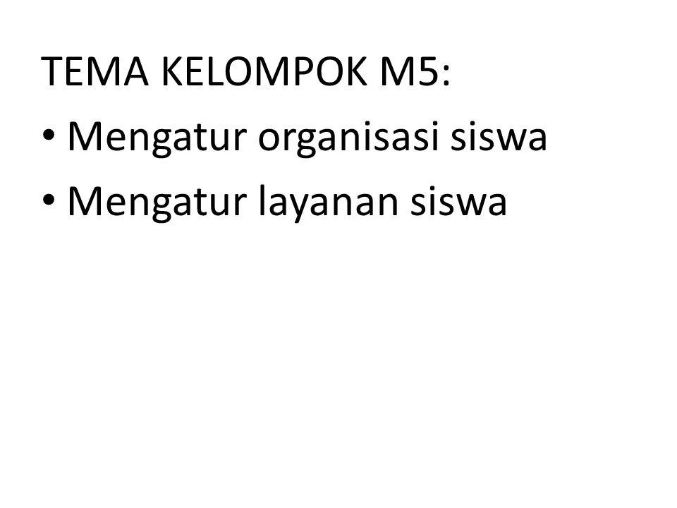 TEMA KELOMPOK M5: Mengatur organisasi siswa Mengatur layanan siswa