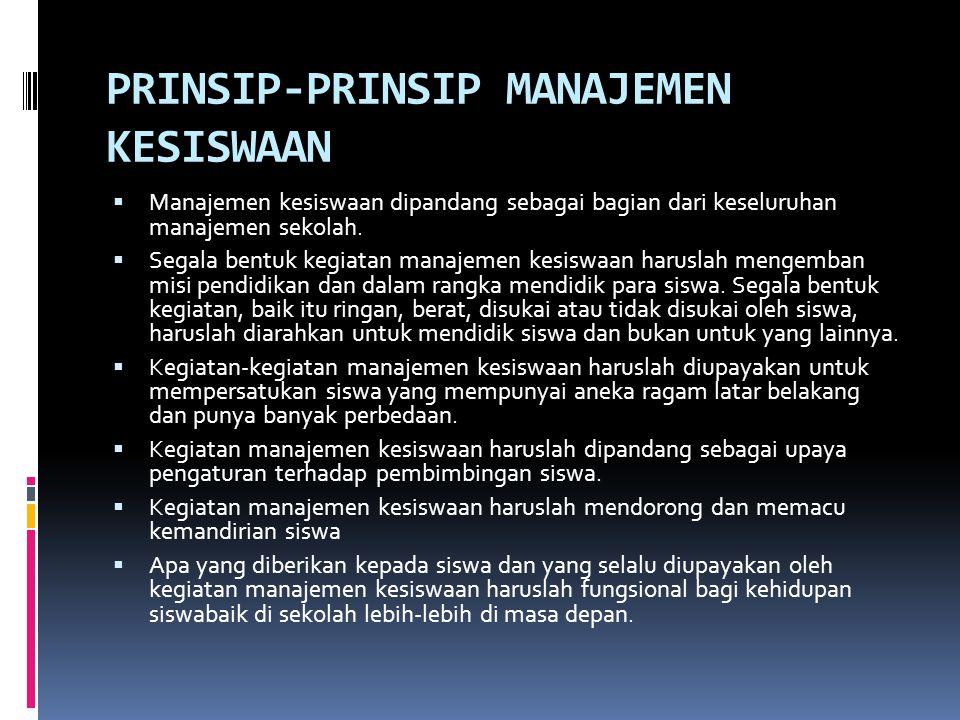 PRINSIP-PRINSIP MANAJEMEN KESISWAAN  Manajemen kesiswaan dipandang sebagai bagian dari keseluruhan manajemen sekolah.  Segala bentuk kegiatan manaje