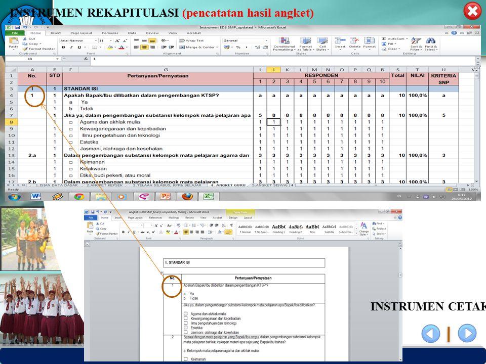 PUSAT PENJAMINAN MUTU PENDIDIKAN - BPSDMPK PPMP – KEMENDIKBUD -2012 INSTRUMEN CETAK INSTRUMEN REKAPITULASI (pencatatan hasil angket)