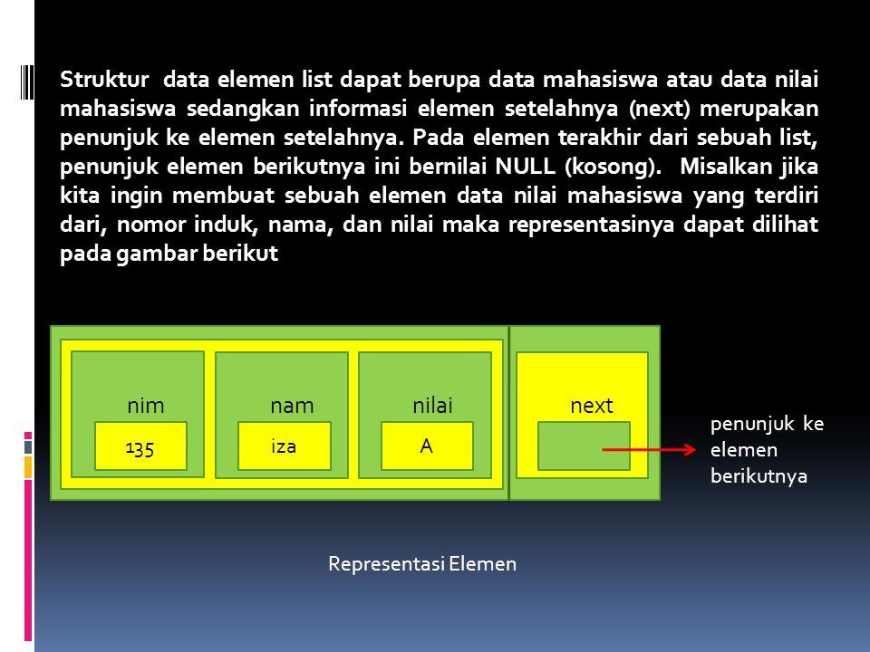 Struktur data elemen list dapat berupa data mahasiswa atau data nilai mahasiswa sedangkan informasi elemen setelahnya (next) merupakan penunjuk ke elemen setelahnya.