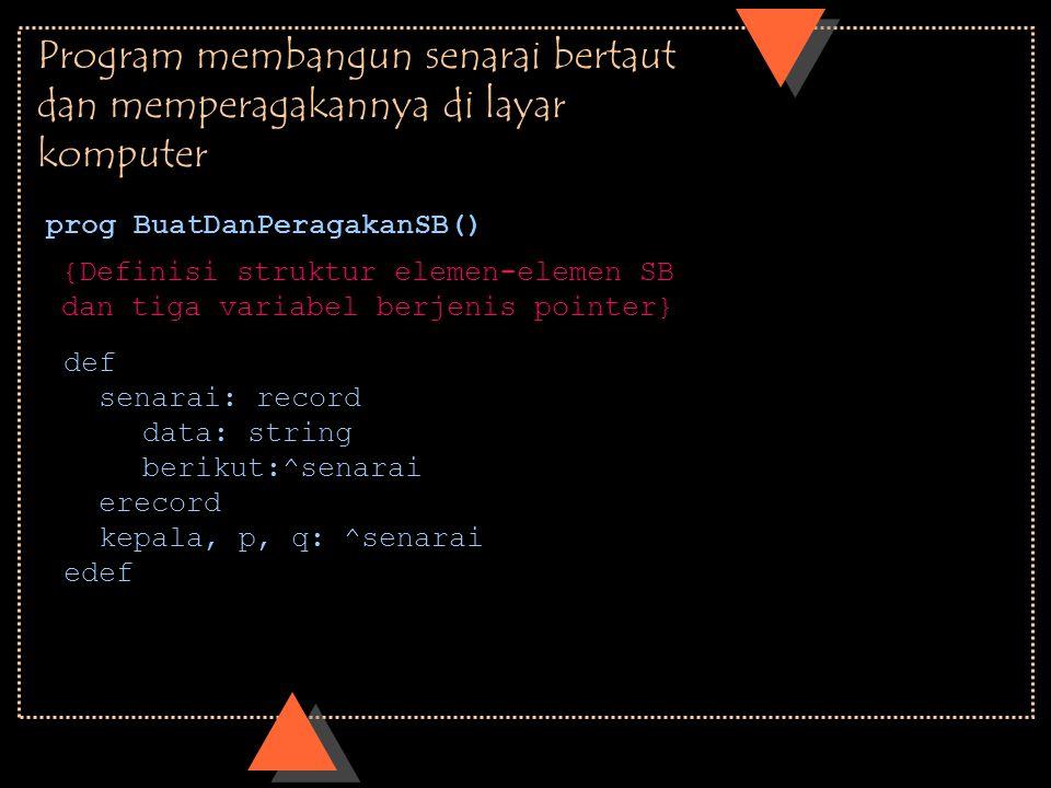 Program membangun senarai bertaut dan memperagakannya di layar komputer prog BuatDanPeragakanSB() def senarai: record data: string berikut:^senarai er