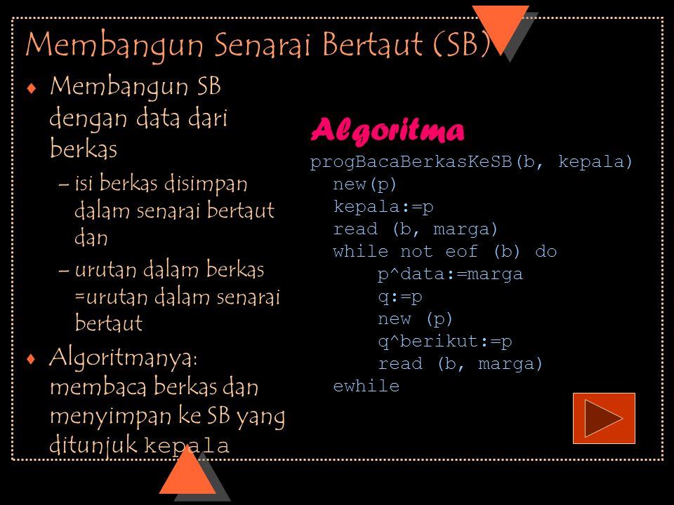 Membangun Senarai Bertaut (SB)  Membangun SB dengan data dari berkas –isi berkas disimpan dalam senarai bertaut dan –urutan dalam berkas =urutan dala