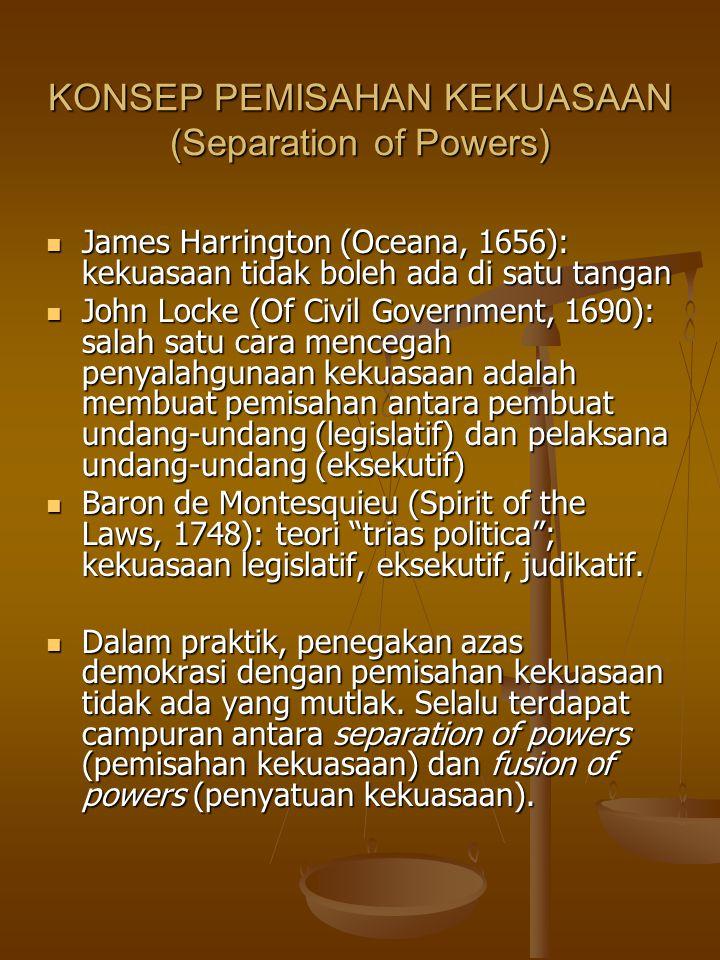 KONSEP PEMISAHAN KEKUASAAN (Separation of Powers) James Harrington (Oceana, 1656): kekuasaan tidak boleh ada di satu tangan James Harrington (Oceana, 1656): kekuasaan tidak boleh ada di satu tangan John Locke (Of Civil Government, 1690): salah satu cara mencegah penyalahgunaan kekuasaan adalah membuat pemisahan antara pembuat undang-undang (legislatif) dan pelaksana undang-undang (eksekutif) John Locke (Of Civil Government, 1690): salah satu cara mencegah penyalahgunaan kekuasaan adalah membuat pemisahan antara pembuat undang-undang (legislatif) dan pelaksana undang-undang (eksekutif) Baron de Montesquieu (Spirit of the Laws, 1748): teori trias politica ; kekuasaan legislatif, eksekutif, judikatif.