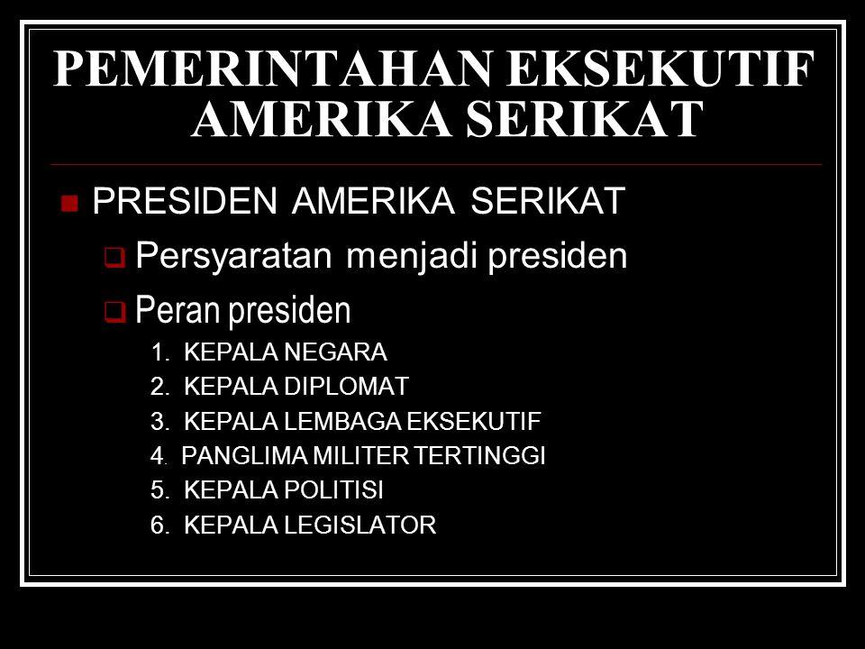 PEMERINTAHAN EKSEKUTIF AMERIKA SERIKAT PRESIDEN AMERIKA SERIKAT  Persyaratan menjadi presiden  Peran presiden 1.