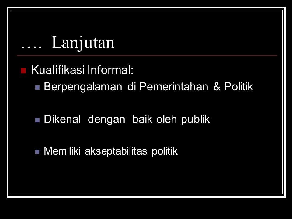 Kualifikasi Informal: Berpengalaman di Pemerintahan & Politik Dikenal dengan baik oleh publik Memiliki akseptabilitas politik ….