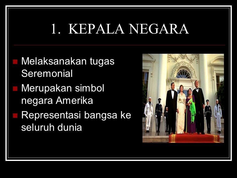 1. KEPALA NEGARA Melaksanakan tugas Seremonial Merupakan simbol negara Amerika Representasi bangsa ke seluruh dunia