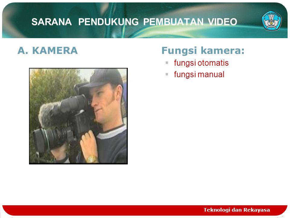 SARANA PENDUKUNG PEMBUATAN VIDEO A.KAMERAFungsi kamera:  fungsi otomatis  fungsi manual Teknologi dan Rekayasa