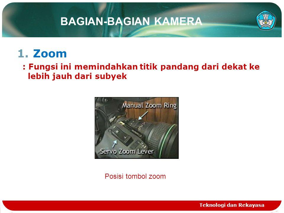 BAGIAN-BAGIAN KAMERA 1.Zoom : Fungsi ini memindahkan titik pandang dari dekat ke lebih jauh dari subyek Teknologi dan Rekayasa Posisi tombol zoom
