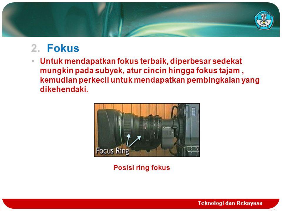 2.Fokus  Untuk mendapatkan fokus terbaik, diperbesar sedekat mungkin pada subyek, atur cincin hingga fokus tajam, kemudian perkecil untuk mendapatkan