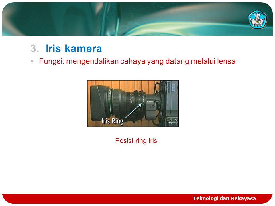 3.Iris kamera  Fungsi: mengendalikan cahaya yang datang melalui lensa Teknologi dan Rekayasa Posisi ring iris