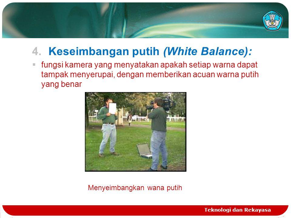 4.Keseimbangan putih (White Balance):  fungsi kamera yang menyatakan apakah setiap warna dapat tampak menyerupai, dengan memberikan acuan warna putih