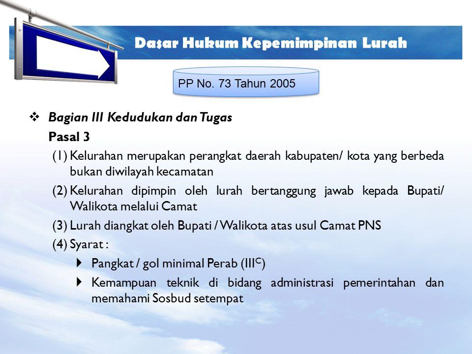 LOGO Dasar Hukum Kepemimpinan Lurah PP No. 73 Tahun 2005  Bagian III Kedudukan dan Tugas Pasal 3 (1)Kelurahan merupakan perangkat daerah kabupaten/ k