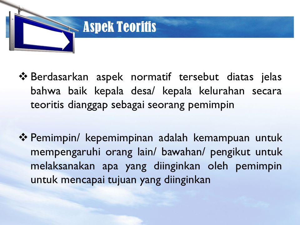 LOGO Aspek Teoritis  Berdasarkan aspek normatif tersebut diatas jelas bahwa baik kepala desa/ kepala kelurahan secara teoritis dianggap sebagai seora