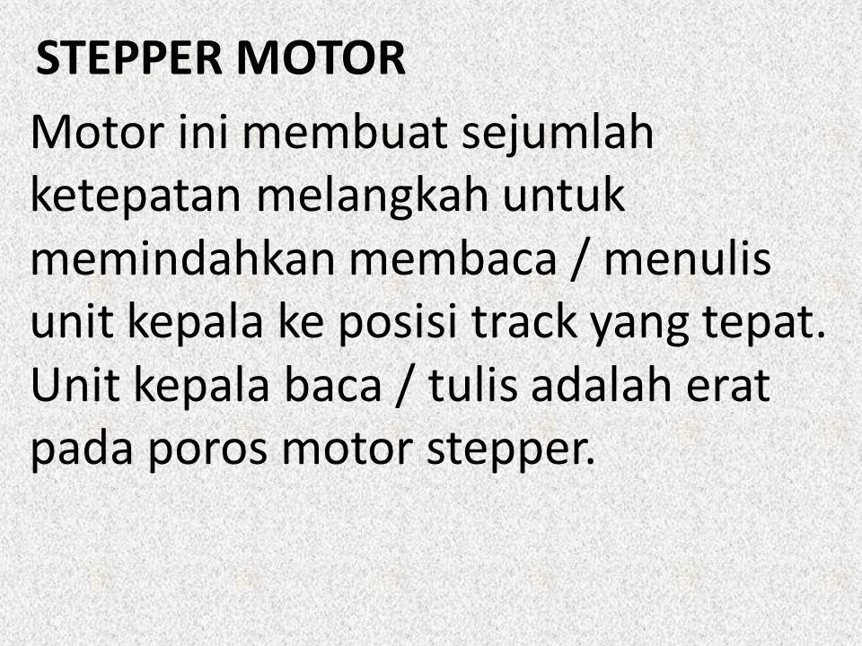 Motor ini membuat sejumlah ketepatan melangkah untuk memindahkan membaca / menulis unit kepala ke posisi track yang tepat.