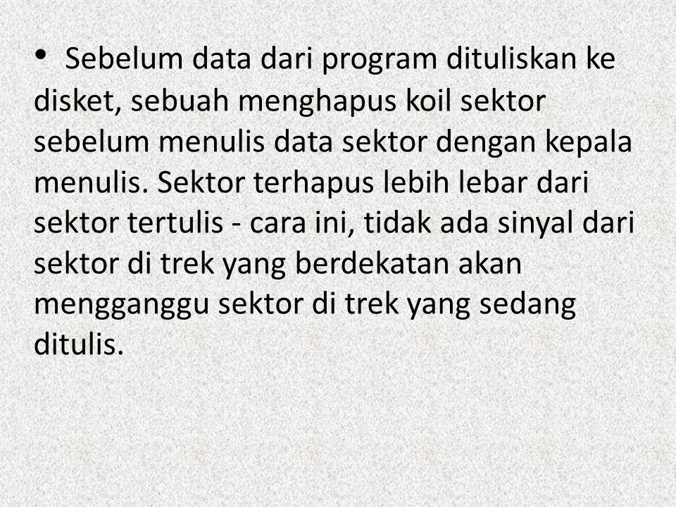 Sebelum data dari program dituliskan ke disket, sebuah menghapus koil sektor sebelum menulis data sektor dengan kepala menulis.