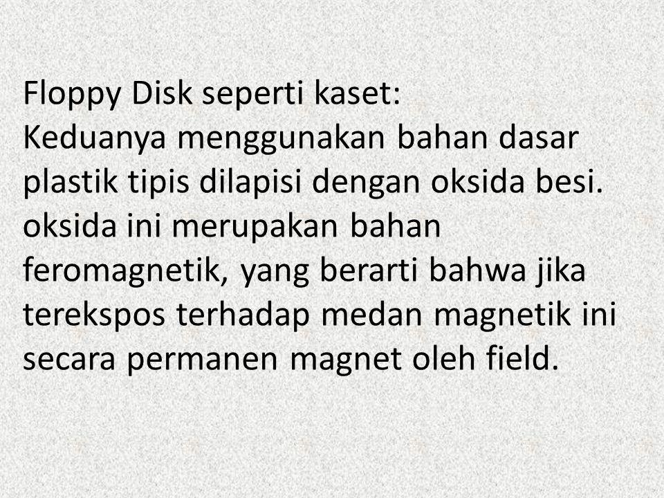 Floppy Disk seperti kaset: Keduanya menggunakan bahan dasar plastik tipis dilapisi dengan oksida besi. oksida ini merupakan bahan feromagnetik, yang b