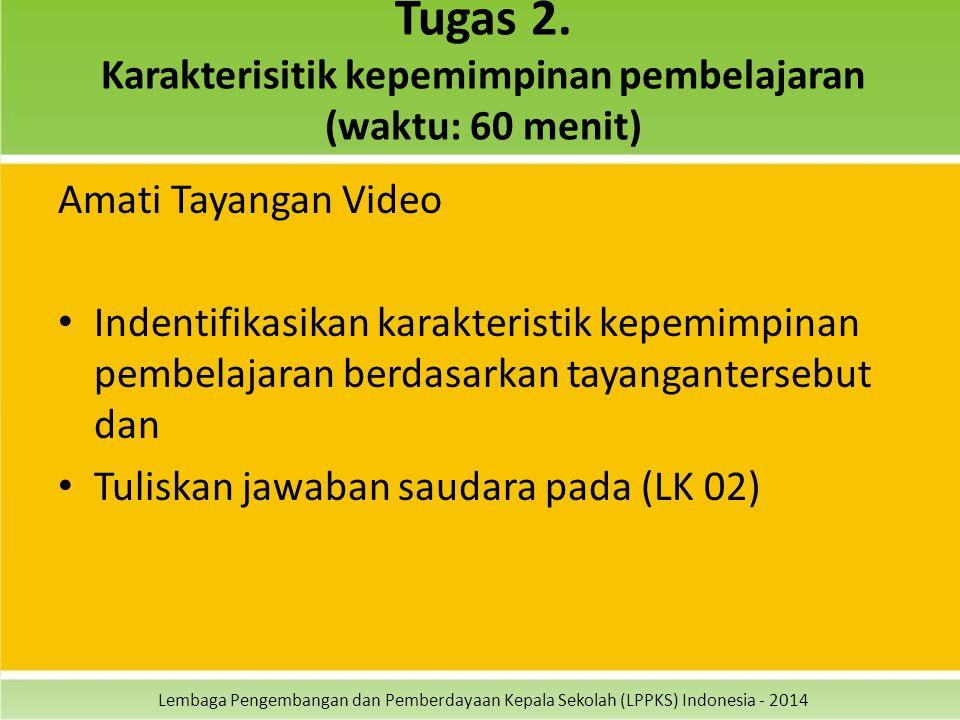 Lembaga Pengembangan dan Pemberdayaan Kepala Sekolah (LPPKS) Indonesia - 2014 Tugas 2. Karakterisitik kepemimpinan pembelajaran (waktu: 60 menit) Amat