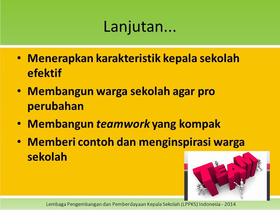Lembaga Pengembangan dan Pemberdayaan Kepala Sekolah (LPPKS) Indonesia - 2014 Lanjutan... Menerapkan karakteristik kepala sekolah efektif Membangun wa