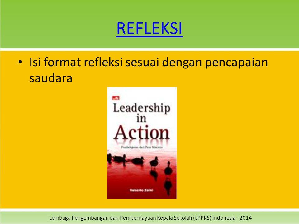 Lembaga Pengembangan dan Pemberdayaan Kepala Sekolah (LPPKS) Indonesia - 2014 REFLEKSI Isi format refleksi sesuai dengan pencapaian saudara