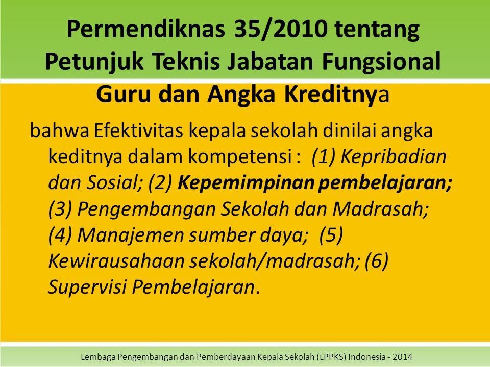 Lembaga Pengembangan dan Pemberdayaan Kepala Sekolah (LPPKS) Indonesia - 2014 Permendiknas 35/2010 tentang Petunjuk Teknis Jabatan Fungsional Guru dan Angka Kreditnya bahwa Efektivitas kepala sekolah dinilai angka keditnya dalam kompetensi : (1) Kepribadian dan Sosial; (2) Kepemimpinan pembelajaran; (3) Pengembangan Sekolah dan Madrasah; (4) Manajemen sumber daya; (5) Kewirausahaan sekolah/madrasah; (6) Supervisi Pembelajaran.