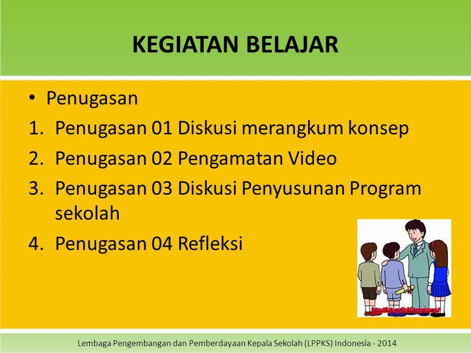 Lembaga Pengembangan dan Pemberdayaan Kepala Sekolah (LPPKS) Indonesia - 2014 KEGIATAN BELAJAR Penugasan 1.Penugasan 01 Diskusi merangkum konsep 2.Pen