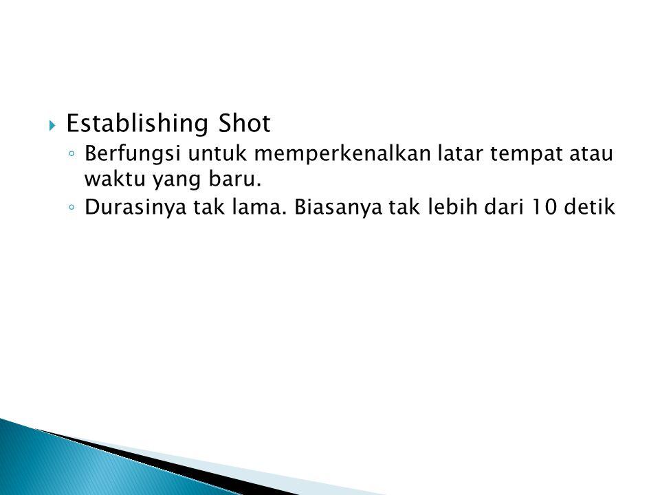 Establishing Shot ◦ Berfungsi untuk memperkenalkan latar tempat atau waktu yang baru. ◦ Durasinya tak lama. Biasanya tak lebih dari 10 detik