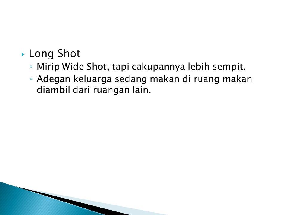  Long Shot ◦ Mirip Wide Shot, tapi cakupannya lebih sempit. ◦ Adegan keluarga sedang makan di ruang makan diambil dari ruangan lain.