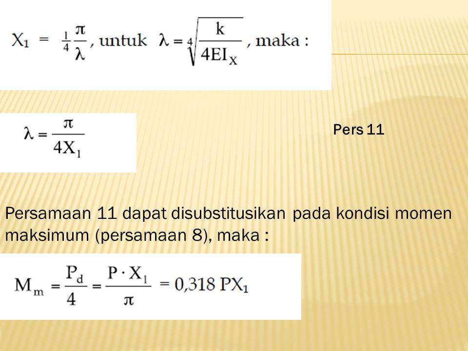 Pers 11 Persamaan 11 dapat disubstitusikan pada kondisi momen maksimum (persamaan 8), maka :