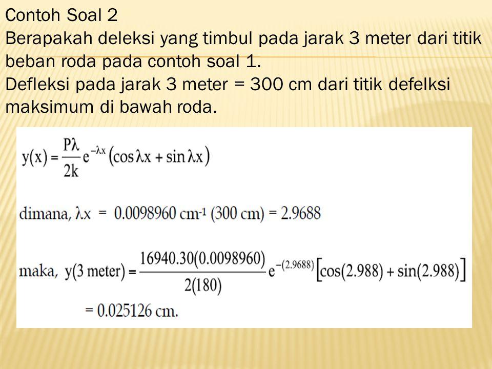 Contoh Soal 2 Berapakah deleksi yang timbul pada jarak 3 meter dari titik beban roda pada contoh soal 1. Defleksi pada jarak 3 meter = 300 cm dari tit