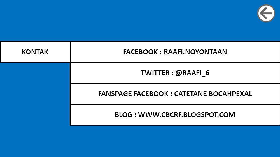 KONTAKFACEBOOK : RAAFI.NOYONTAAN BLOG : WWW.CBCRF.BLOGSPOT.COM TWITTER : @RAAFI_6 FANSPAGE FACEBOOK : CATETANE BOCAHPEXAL