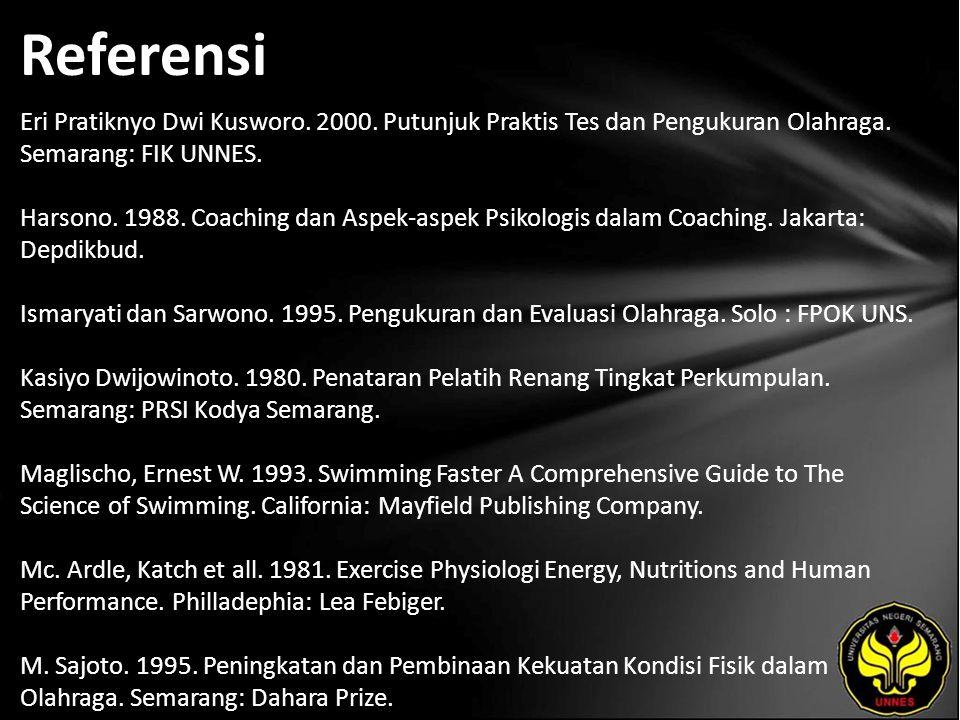 Referensi Eri Pratiknyo Dwi Kusworo. 2000. Putunjuk Praktis Tes dan Pengukuran Olahraga.