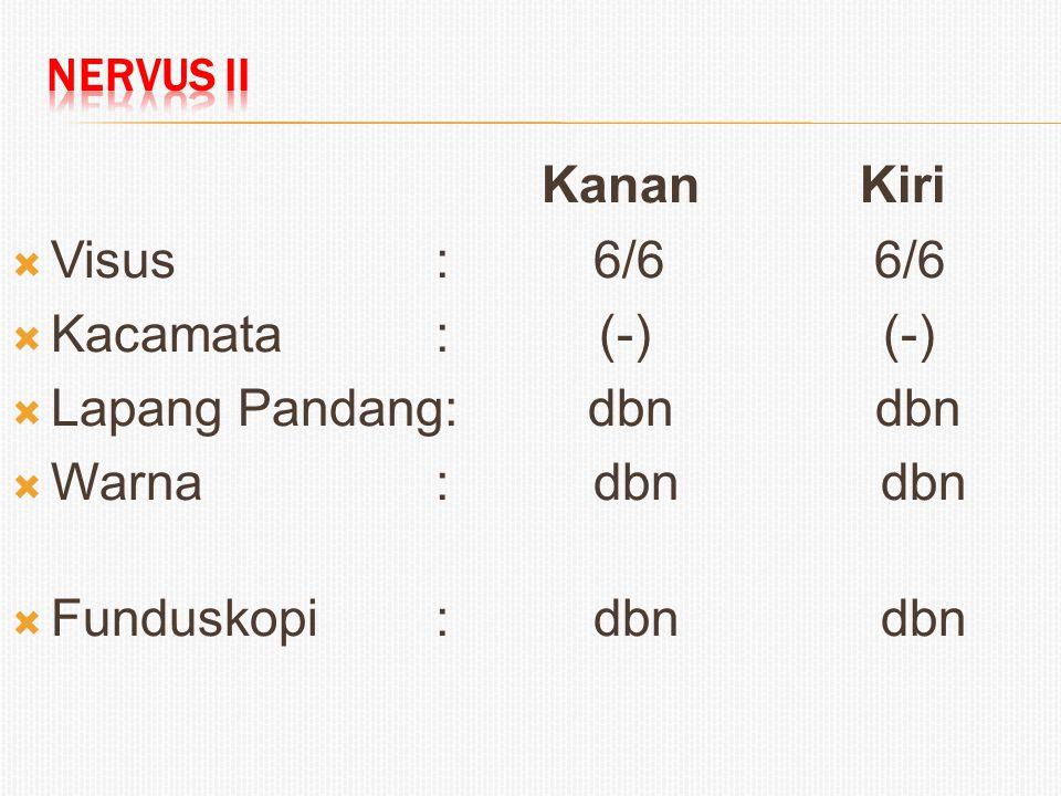 KananKiri  Visus: 6/6 6/6  Kacamata: (-) (-)  Lapang Pandang: dbn dbn  Warna: dbn dbn  Funduskopi: dbn dbn