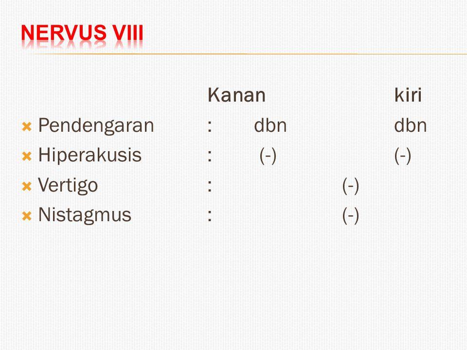 Kanankiri  Pendengaran:dbn dbn  Hiperakusis: (-)(-)  Vertigo : (-)  Nistagmus: (-)