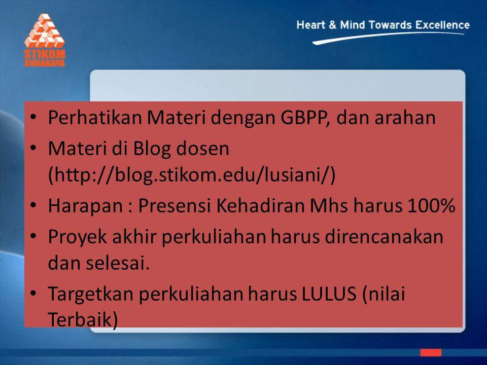 Perhatikan Materi dengan GBPP, dan arahan Materi di Blog dosen (http://blog.stikom.edu/lusiani/) Harapan : Presensi Kehadiran Mhs harus 100% Proyek ak