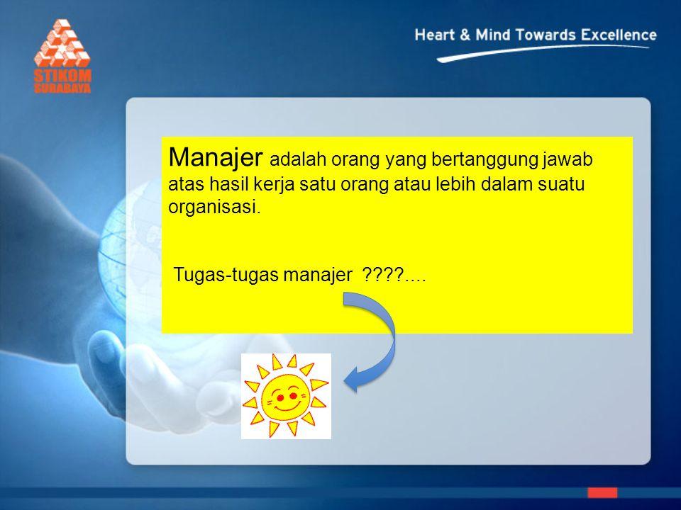 Manajer adalah orang yang bertanggung jawab atas hasil kerja satu orang atau lebih dalam suatu organisasi. Tugas-tugas manajer ????....