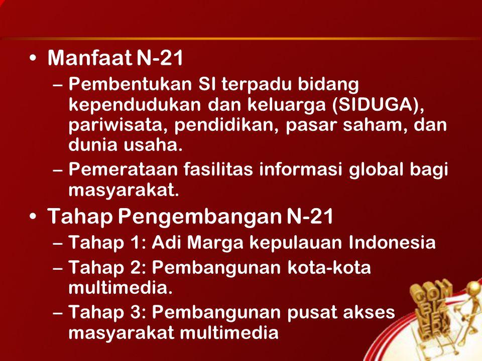 Manfaat N-21 –Pembentukan SI terpadu bidang kependudukan dan keluarga (SIDUGA), pariwisata, pendidikan, pasar saham, dan dunia usaha.