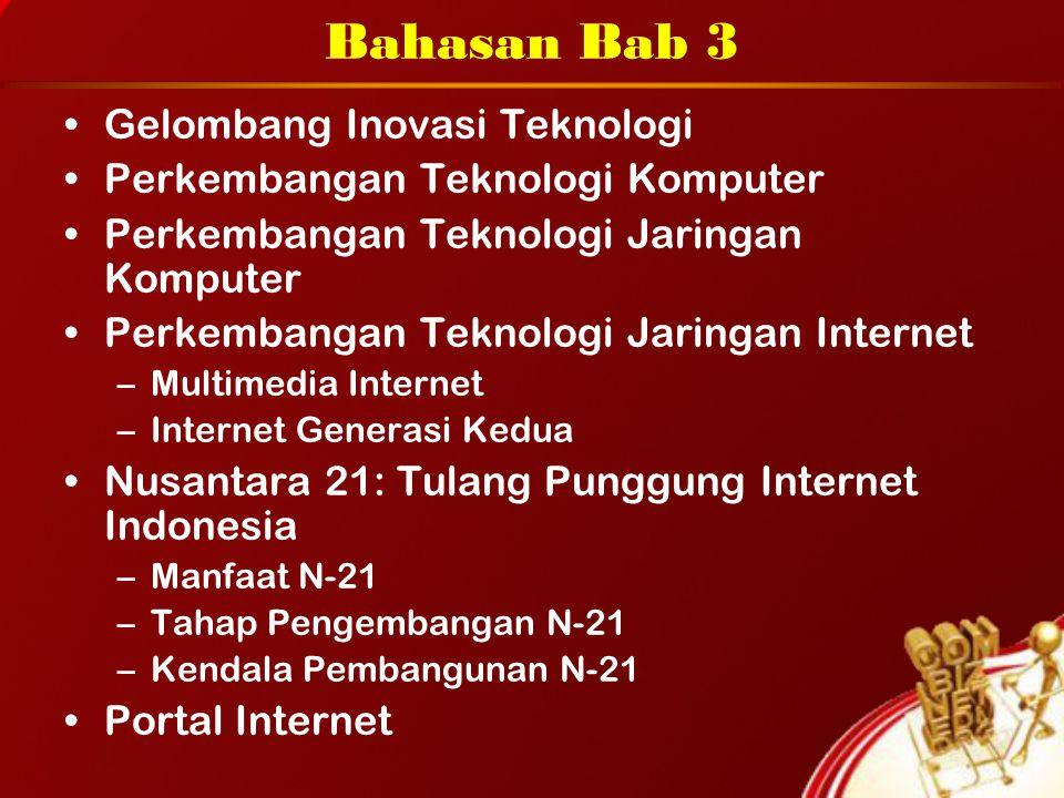 Bahasan Bab 3 Gelombang Inovasi Teknologi Perkembangan Teknologi Komputer Perkembangan Teknologi Jaringan Komputer Perkembangan Teknologi Jaringan Internet –Multimedia Internet –Internet Generasi Kedua Nusantara 21: Tulang Punggung Internet Indonesia –Manfaat N-21 –Tahap Pengembangan N-21 –Kendala Pembangunan N-21 Portal Internet