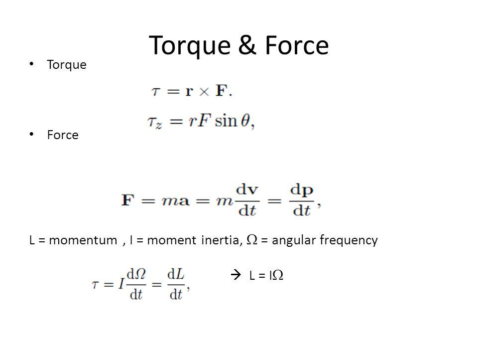 Torque & Force Torque Force L = momentum, I = moment inertia,  = angular frequency  L = I 