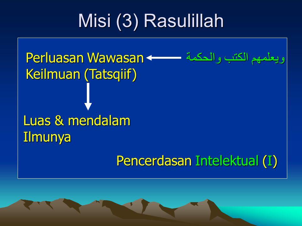 Misi (3) Rasulillah Perluasan Wawasan Keilmuan (Tatsqiif) Luas & mendalam Ilmunya Pencerdasan Intelektual (I) ويعلمهم الكتب والحكمة