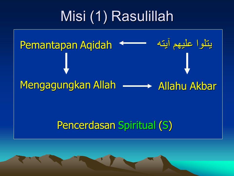 Misi (1) Rasulillah يتلوا عليهم آيته Pemantapan Aqidah Mengagungkan Allah Pencerdasan Spiritual (S) Allahu Akbar