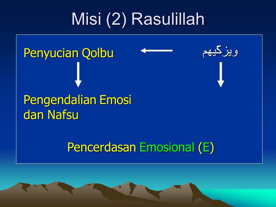 Misi (2) Rasulillah Penyucian Qolbu Pengendalian Emosi dan Nafsu Pencerdasan Emosional (E) ويزكّيهم