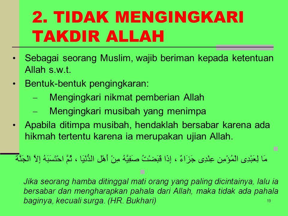 3.IKHLAS Secara etimologis Ikhlas (bhs Arab) dr kata khalasa artinya bersih, jernih, murni.
