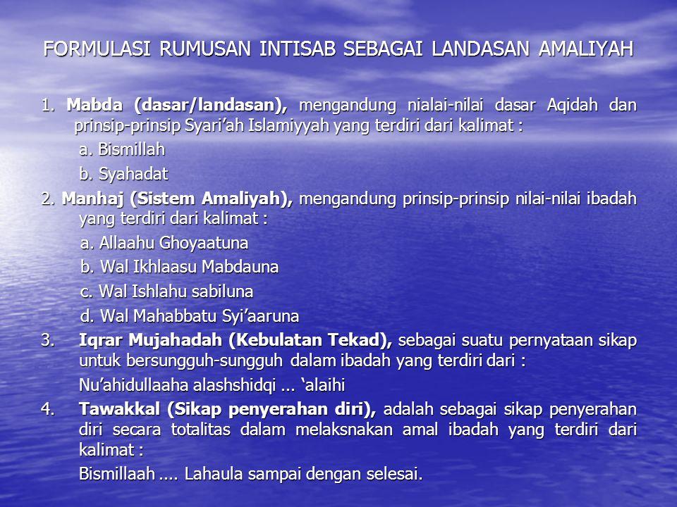 FORMULASI RUMUSAN INTISAB SEBAGAI LANDASAN AMALIYAH 1. Mabda (dasar/landasan), mengandung nialai-nilai dasar Aqidah dan prinsip-prinsip Syari'ah Islam