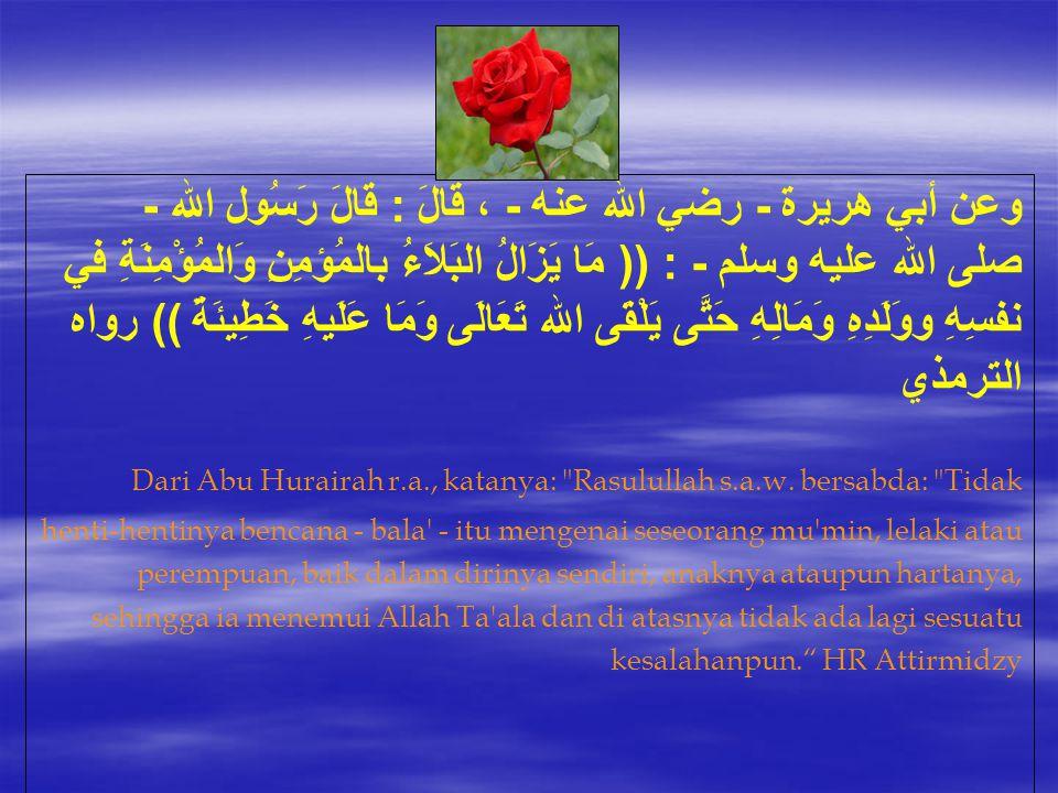 وعن أبي هريرة - رضي الله عنه - ، قَالَ : قَالَ رَسُول الله - صلى الله عليه وسلم - : (( مَا يَزَالُ البَلاَءُ بالمُؤمِنِ وَالمُؤْمِنَةِ في نفسِهِ ووَلَ