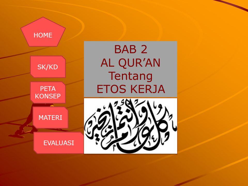 Kompetensi Dasar: 1.Membaca Q.S al Mujadilah: 11 dan Q.s al Jumu'ah: 9-10 2.Menyebutkan arti Q.s al Mujadilah: 11 dan Q.s al Jumu'ah: 9-10 3.Membiasakan etos kerja seperti terkandung dalam Q.s al Mujadilah: 11 dan Q.s al Jumu'ah: 9-10 Standar Kompetensi: Memahami ayat-ayat al Qur'an tentang etos kerja BAC K