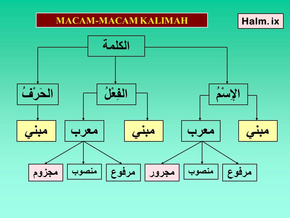 MACAM-MACAM KALIMAH الكلمة الإِسْمُ الفِعْلُ الحَرْفُ مبنيمعربمبنيمعربمبني مرفوع منصوب مجرورمرفوع منصوب مجزوم Halm.